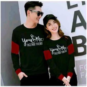 CL-sweater pasangan YOUME FOREVER BLACK MAROON (pria+wanita) FASHION COUPLE BAJU
