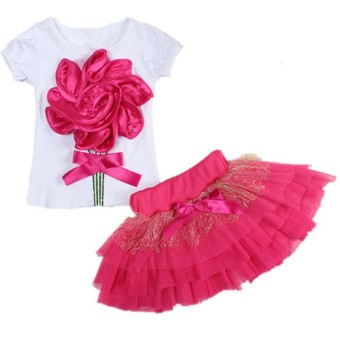 CNB2C Floral Baby Kids Girl Dress Short Sleeve Top T-Shirt+Skirt Outfits Clothes Set - intl