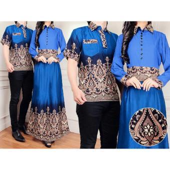 Couple Miranda Biru Couple Kemeja Baju Batik Pria Couple   Gamis Muslim   Kebaya  Dress Wanita 54b113b6ce