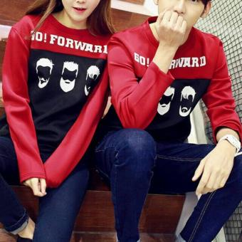 couple store cs - t-shirt pasangan / kaos lengan panjang GO FORWARD maroon