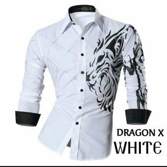COUPLELOVER - KEMEJA PRIA DRAGON X -WHITE HEM PRIA SHIRTS MAN FASHION PRIA BAJU PRIA