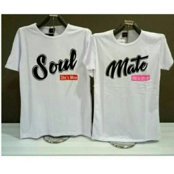 COUPLELOVER- T-SHIRTS COUPLE PD SOULMATE MINE PUTIH L/XL (PRIA-
