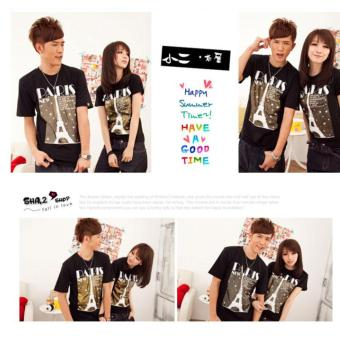 cs - kaos couple / t-shirt pasangan New Paris Tower Black