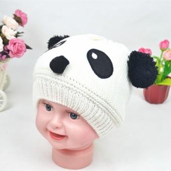 Cute Baby Kupluk Rajut Cap Wol Topi Kupluk Musim Dingin Hangat Putih-Intl cf09e31fa2