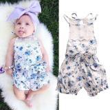 Gadis Lucu Bayi Putri Biru Bunga Katun Baju Monyet Sleeveless Jumpsuit H126-