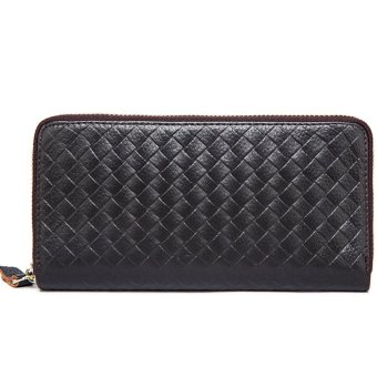 Dompet Fashion Import PU leather premium long wallet with zipper-Coklat