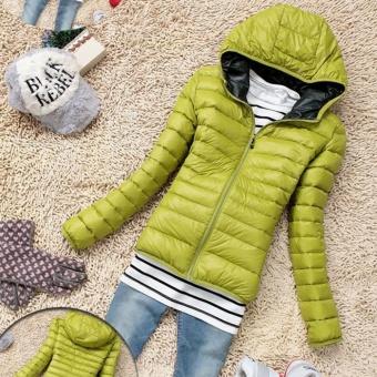 Eachgo Women Winter Zipper Hooded Coat Thin Candy Color Coat Jacket ( Green ) - intl