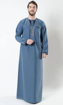 East Essence Mounir Pria Maroko Bordir Thobe-Bahama Blue