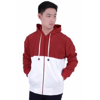 Elfs Shop - Jaket Hoodie Pria Parasut Outdoor Windbreaker Waterproof Indonesia-Merah Cabe