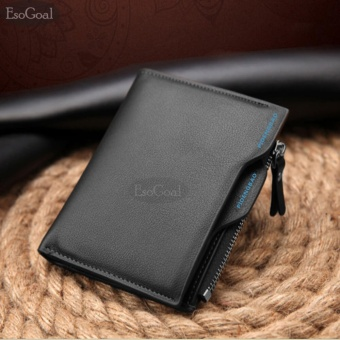 EsoGoal Business Men Wallets Solid Man PU Leather Purse Long Bifold Wallet Portable Cash Coin Purses Zipper Wallets Male Clutch Bag(Black) - intl
