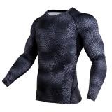 Detail Gambar Eropa dan Amerika Serikat Olahraga T-shirt Lengan Panjang Pria Ular-kecepatan Kering Pakaian Kebugaran Pakaian Basket Running Fitness Pakaian ...