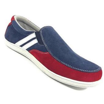 EWN Sepatu Slip On Casual Pria / Sepatu Pria / Sepatu Kasual Pria- Merah Navy