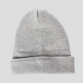 Faseno Topi Pria Kupluk Rajut 2 in 1 Beanie Cap Knitting Lipat Abu-Abu Muda