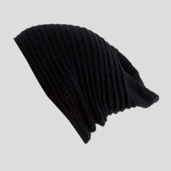 Faseno Topi Pria Kupluk Rajut 2 in 1 Beanie Cap Knitting Simple Hitam .