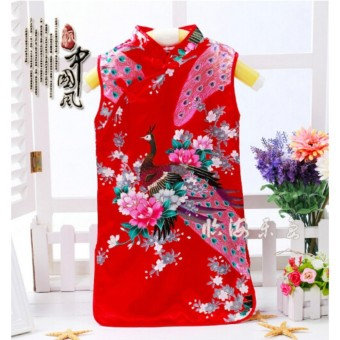 Fashion Chinese Retro Kid Child Girl's Baby Peacock Cheongsam Dress / Qipao 1-8Y Clothes Red Size 10 - intl