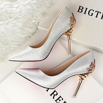 Fashion Tinggi-Sepatu Hak Tinggi Runcing untuk Pernikahan Wanita Sepatu (Perak)