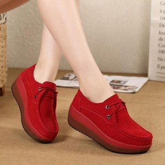 Fashion Lace Up Rocker Sole Suede Casual Shoes Closed Toe Wedges - intl