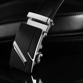 Fashion Pria Kulit Belt Automatic Buckle Belt Pria Bisnis Kualitas Terbaik Sabuk Pinggang (Hitam &