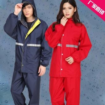 Fashion Pria Dan Wanita Terpisah Lebih Tebal Jas Hujan Dewasa Jas Hujan (Angkatan Laut Biru