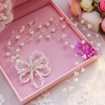 Mutiara Imitasi Bunga Hiasan Kepala Pengantin Busana Gaun Pernikahan Accesory-Internasional