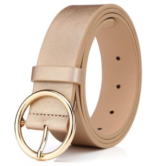 Fashion Round Alloy Pin Buckle Women Belt 105CM (Gold) - intl