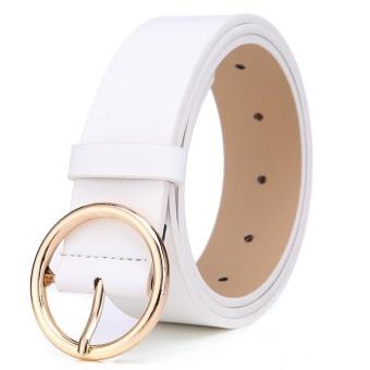 Fashion Round Alloy Pin Buckle Women Belt 105 Cm (Putih)-Intl