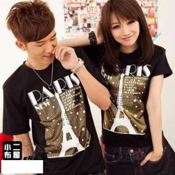 Fashion Story - Kaos Couple New Paris Hitam / Baju Kapel / kaos Pasangan / Fashion