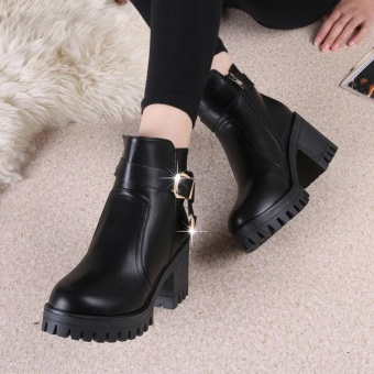 Fashion Wanita Nyaman Kasual Sepatu Bot Musim Dingin Martin Boots (Hitam)- Intl