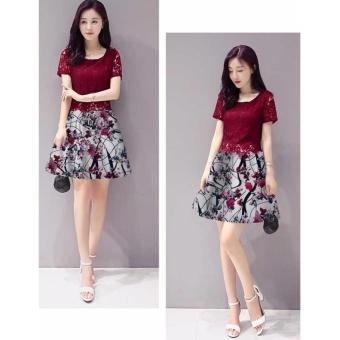 fashionshop Dress Dixy Maroon / Dress Korea / Dress Renda / Dress Brukat / Dress Midi