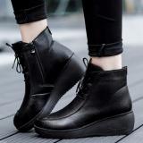 ... Sepatu Wanita Fashion Tinggi untuk Membantu Meningkatkan Renda Tali  Kulit Ibu Sepatu Setengah Baya Sepatu Kasual ... dff7834aee