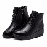 Detail Gambar Sepatu Wanita Fashion Tinggi untuk Membantu Meningkatkan  Renda Tali Kulit Ibu Sepatu Setengah Baya Sepatu Kasual Sepatu (hitam)  36-41-Intl ... 48e3ed29c9