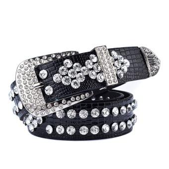 Wanita Fashion Mewah Handmade Diamond Belt Lebar Jeans Belt Sabuk Dekoratif Sabuk Hitam-Intl