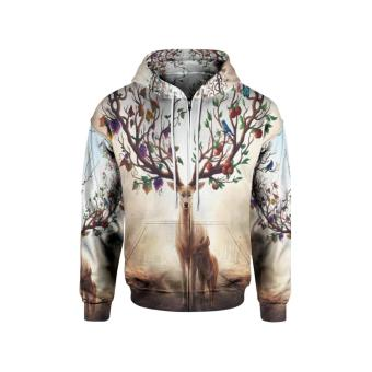 4259b02b [Fikastore] Jaket Hoodie Sweater Pria Tema WOLF 3D Full Print Sublimation  Zipper - Art