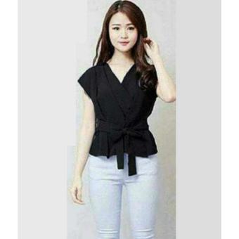 Flavia Store Blouse Lengan Pendek Kimono FS0430 - HITAM / Baju Kemeja Wanita / Atasan /