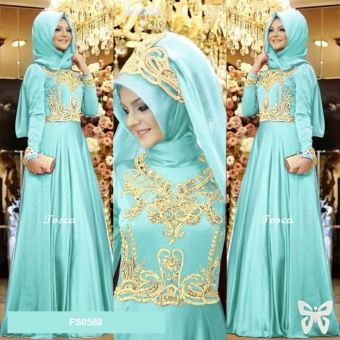 Flavia Store Maxi Dress Lengan Panjang Set 2 in 1 FS0588 - HIJAU MINT / Gamis