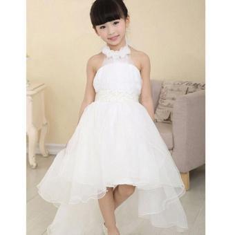 Bunga Gadis Putri Gaun Kid Pesta Kontes Pernikahan Bridesmaid Tutu Gaun-Intl