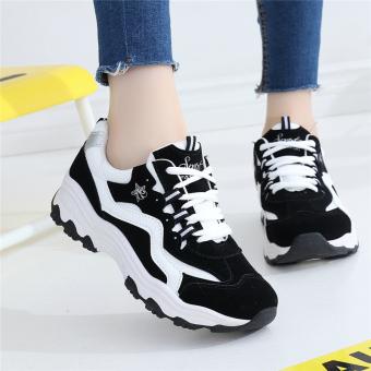Sepatu Olahraga Wanita Bersirkulasi Udara Santai Versi Korea (Hitam dan putih) (Hitam dan