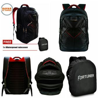 Fortuner Tas Ransel Embos Backpack 18 Inchi 4012-18 Polyester Nylon Original - Black +