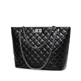 Gaya Channel Korea Fashion Style Baru Selempang Miring Bahu Tas Tas Besar  (Hitam Besar) b98654261e