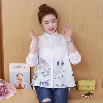 Angin Cina Kemeja Putih Bordir Musim Gugur Kemeja Wanita Katun (Putih)