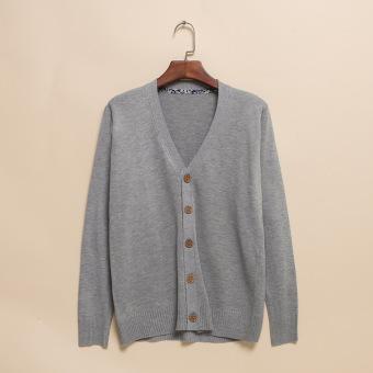 Gaya Jepang Warna Polos Laki-laki Bagian Tipis Kasual Sweater On Rajutan Kardigan (Abu