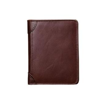 Kulit Asli Kulit Sapi Bi-fold Dompet Pria Pemegang Kartu Kredit Kecil Pria Dompet-