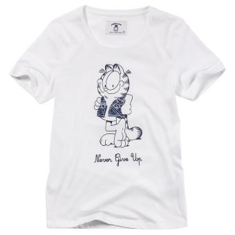 Giordano perempuan kapas dicetak lengan pendek t-shirt (14 putih)