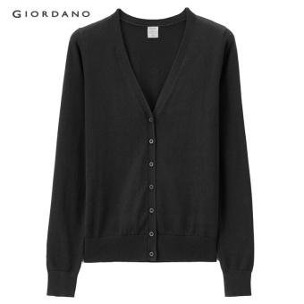 Giordano Wanita V-Leher Kapas sweater 05357726 Hitam-Internasional