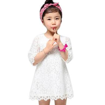 Gadis' S Lengan Renda Gaun Putri Putih