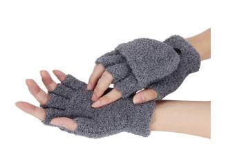 Pergelangan Tangan Wanita Gadis Perempuan Hangat Musim Dingin Sarung Tangan Tanpa Jari-Jari Kelabu