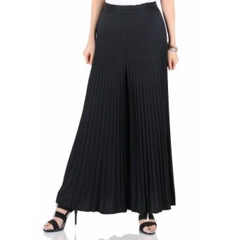 Glow Fashion Celana kulot plisket panjang wanita jumbo long pant Helda -hitam