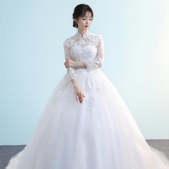 Gaun Putri Putih Gaun Pengantin Baru (Lengan panjang ekor)