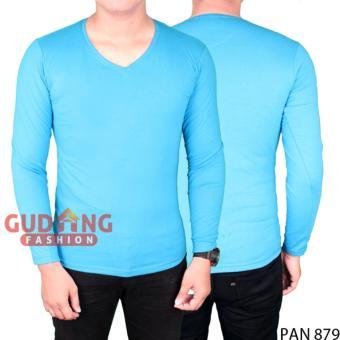 Gudang Fashion - Kaos Simple Polos Panjang Pria - Biru Muda
