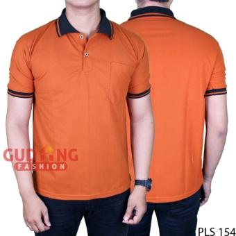 Gudang Fashion - Tshirt Lengan Pendek Kerah - Coklat Bata Kerah Hitam 98f2d4aa53